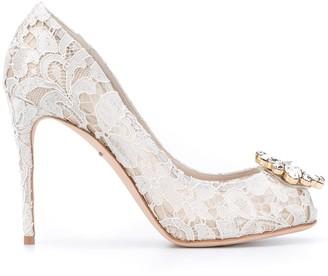 Dolce & Gabbana Crystal Embellished Lace Pumps