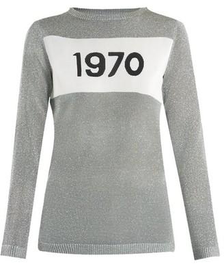 Bella Freud 1970 Intarsia Knit Sweater - Womens - Silver