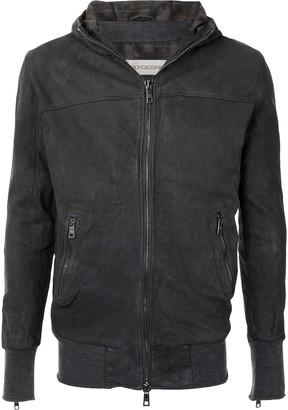 Giorgio Brato Hooded Leather Zipped Jacket