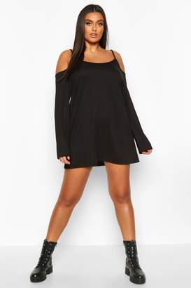 boohoo Plus Cold Shoulder Strappy Long Sleeve Shift Dress
