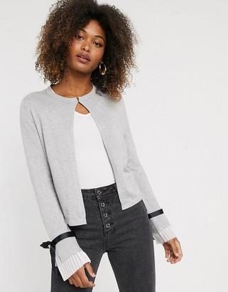 Vero Moda tie sleeve cardigan-Grey