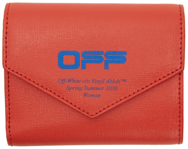 Off-White Red and Blue Logo Trifold Wallet