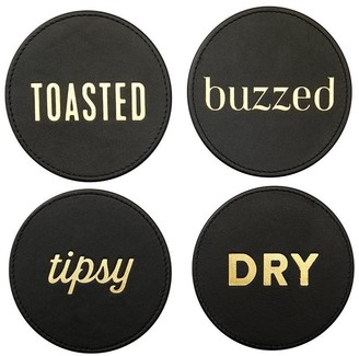 Indigo Expressions Black Leather Coasters