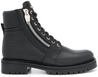 Balmain Embossed Logo Combat Boots