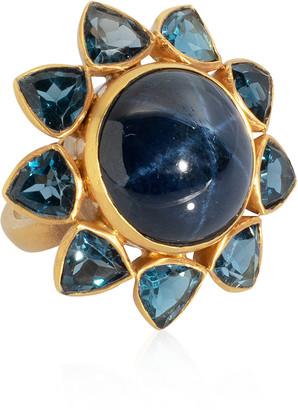 Bahina Sapphire Topaz 18K Yellow Gold Ring