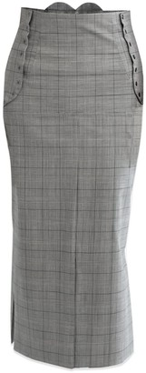 Cleo Prickett Dual High-Waisted Skirt In Glen Check Fine Wool From Savile Row