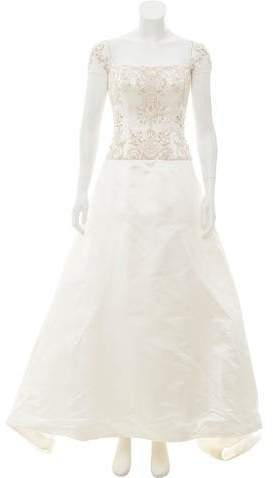 Reem Acra Embellished Silk-Blend Wedding Gown