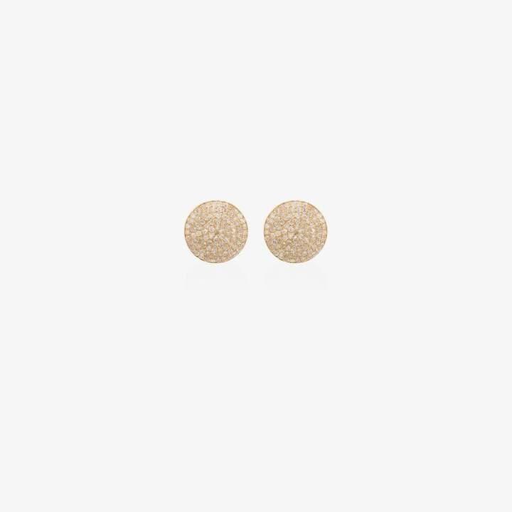 Shay Womens 18k Yellow Gold Round Pave Diamond Stud Earrings
