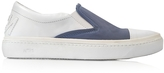 N°21 Cerulean Blue Satin & White Leather Slip-on Sneaker