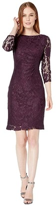 Tahari ASL Long Sleeve Stretch Lace Side Draped Dress (Plum Floral Lace) Women's Clothing