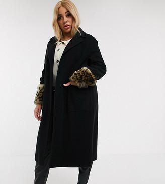 Helene Berman Plus Helene PLus Berman Ete Ruth coat with leopard faux fur cuffs-Black