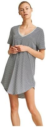 Skin Mollie Sleep Shirt (Midnight Sky/Snow Bunny Stripe) Women's Pajama