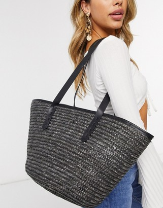 My Accessories London straw tote bag in black with contrast faux leather handle