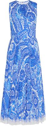 Andrew Gn Paisley-Print Plisse-Silk Midi Dress