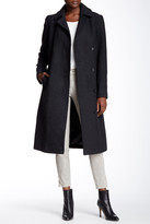 Cole Haan Wool Blend Belted Notch Collar Maxi Coat