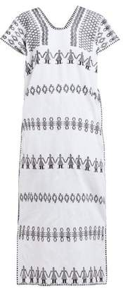 Pippa Holt - No.141 Embroidered Maxi Cotton Kaftan - Womens - White Black