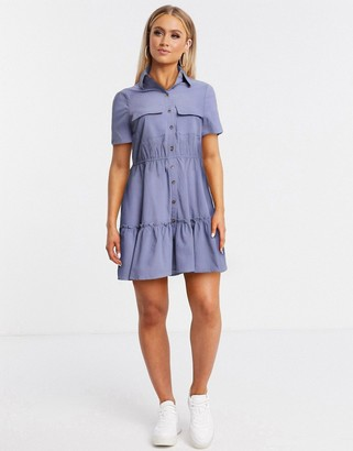 Qed London tiered hem utility shirt dress in cornflower blue