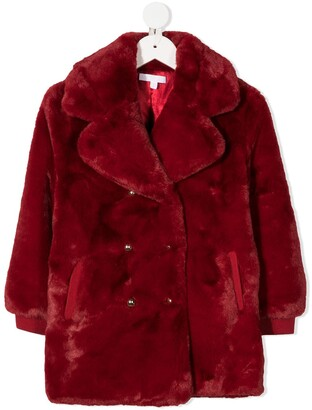 Chloé Kids Faux Fur Double-Breasted Coat