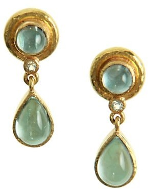 Elizabeth Locke Stone Aquamarine 19K Gold Drop Stud Earrings