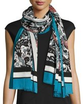 Burberry Beasts & Leaves Cotton Shawl, Light Blue