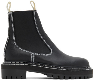 Proenza Schouler Black Leather Chelsea Boots