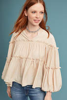 Moon River Ruffled Balloon-Sleeve Blouse