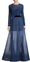 Jenny Packham Long-Sleeve Embellished Gown w/Organza Overlay Skirt, Nightfall
