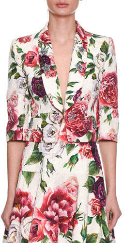 Dolce & Gabbana 3/4-Sleeve Rose-Brocade Short Cocktail Jacket w/ Star-Embellishments