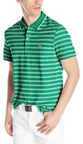 Lacoste Men's Short Sleeve Striped Pique and Jersey Regular Fit Polo Shirt
