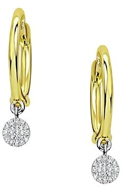 Meira T 14K Yellow Gold & Diamond Disc Charm Huggie Hoop Earrings