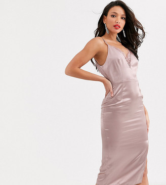 Little Mistress Tall satin cami dress with lace insert in taupe-Pink