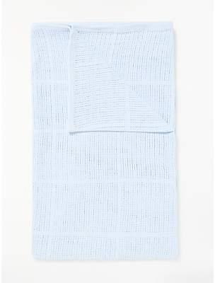 John Lewis & Partners Baby Cellular Cotbed Blanket, 160 x 130cm, Blue