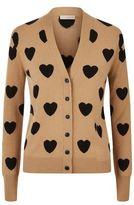 Burberry Heart Print V-Neck Cardigan