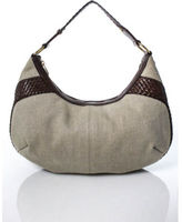 Saint Laurent Beige Canvas Gold Tone Brown Leather Trim Hobo Handbag