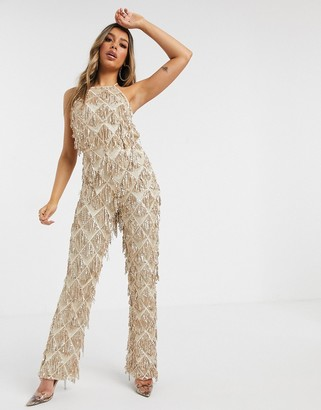 I SAW IT FIRST tassel high neck sequin jumpsuit