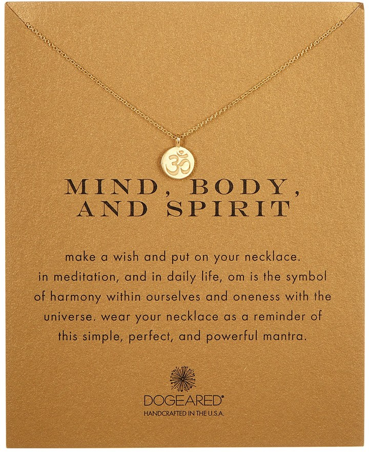 Dogeared 14K Gold Plated Sterling Silver Mind, Body, & Spirit Om Charm Necklace