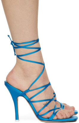 ATTICO Blue Satin Lace-Up Heeled Sandals