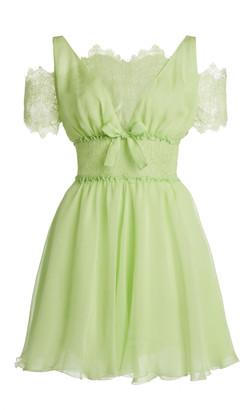 Giambattista Valli Silk Georgette Lace-Detail Mini Dress