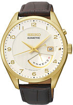 Seiko Mens Kinetic Retrograde Stainless Steel Watch with Leather Strap