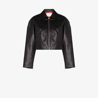 SAMUEL GUI YANG cropped faux leather jacket