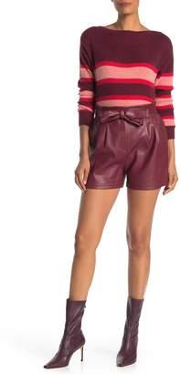 BCBGMAXAZRIA Faux Leather Tie Waist Shorts