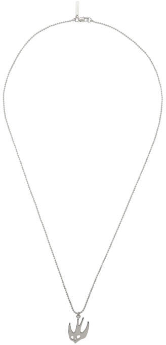 McQ Silver Ball Chain Swallow Necklace