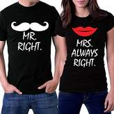 PicOnTshirt Mr Right Mrs Always Right Couple T-shirts
