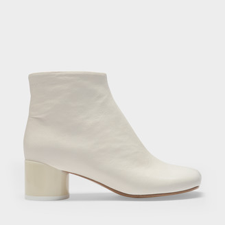 MM6 MAISON MARGIELA Ankle Boots In White Soft Leather