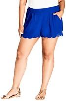 City Chic Plus Size Women's Scalloped Lace Shorts