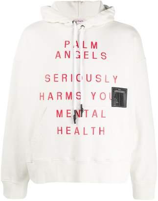 Palm Angels slogan print hoodie