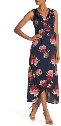 Just For Wraps Surplice Neck Floral Print Ruffle Faux Wrap Maxi Dress