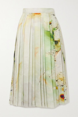 Low Classic Pleated Printed Satin-crepe Midi Skirt - Ivory