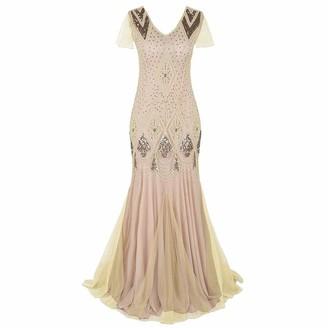 Linkay Ladies 1920s Women Dresses Vintage Lace Party Bead Fringe Sequin Flapper Cocktail Prom Dress Wine