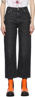 Ganni Black Washed High Waisted Cropped Jeans